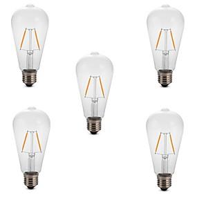 olcso LED izzólámpák-5pcs 2 W Izzószálas LED lámpák 180 lm E26 / E27 ST64 2 LED gyöngyök COB Dekoratív Meleg fehér Hideg fehér 220-240 V / RoHs