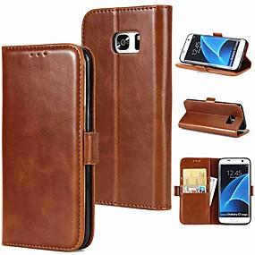 رخيصةأون Galaxy S9 Plus أغطية / كفرات-غطاء من أجل Samsung Galaxy S9 / S9 Plus / S8 Plus حامل البطاقات / قلب / مغناطيس غطاء كامل للجسم لون سادة قاسي جلد أصلي