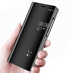 Недорогие Чехлы и кейсы для Huawei Mate-Кейс для Назначение Huawei Mate 10 / Mate 10 pro / Mate 10 lite со стендом / Зеркальная поверхность / Флип Чехол Однотонный Твердый Кожа PU / Mate 9 Pro