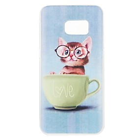 olcso Galaxy S7 tokok-Case Kompatibilitás Samsung Galaxy S8 Plus / S8 / S7 edge Minta Fekete tok Cica Puha TPU