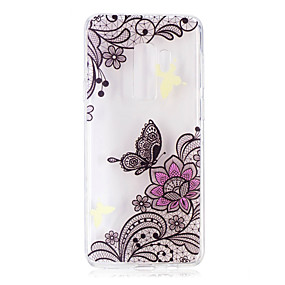 voordelige Galaxy S7 Edge Hoesjes / covers-hoesje Voor Samsung Galaxy S9 / S9 Plus / S8 Plus Transparant / Patroon Achterkant Lace Printing Zacht TPU