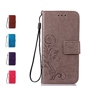 cheap Galaxy J7(2017) Cases / Covers-Case For Samsung Galaxy J7 (2017) / J7 (2016) / J7 Wallet / Card Holder / Flip Full Body Cases Flower Hard Genuine Leather