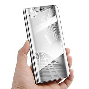 Недорогие Чехлы и кейсы для Galaxy Note 8-Кейс для Назначение SSamsung Galaxy Note 8 / Note 5 со стендом / Зеркальная поверхность / Флип Чехол Однотонный Твердый Кожа PU