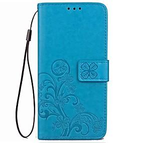 voordelige Galaxy S6 Edge Plus Hoesjes / covers-hoesje Voor Samsung Galaxy S9 / S9 Plus / S8 Plus Portemonnee / Kaarthouder / Flip Volledig hoesje Bloem Hard aitoa nahkaa