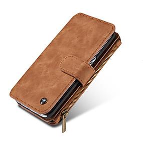 Недорогие Чехлы и кейсы для Galaxy Note 8-Кейс для Назначение SSamsung Galaxy Note 8 / Note 5 Кошелек / Бумажник для карт Чехол Однотонный Твердый Настоящая кожа