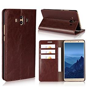 Недорогие Чехлы и кейсы для Huawei Mate-Кейс для Назначение Huawei Mate 10 / Mate 10 pro / Mate 10 lite Кошелек / Бумажник для карт / со стендом Чехол Однотонный Твердый Настоящая кожа