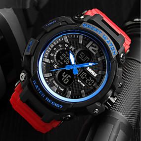Недорогие Фирменные часы-SKMEI Муж. Для пары Армейские часы Японский Цифровой Стеганная ПУ кожа Черный / Красный / Хаки 50 m Защита от влаги Календарь Хронометр Аналоговый Роскошь На каждый день -  / Фосфоресцирующий