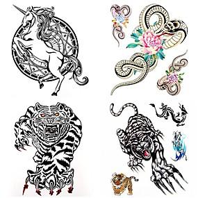 رخيصةأون وشم مؤقت-4 pcs ملصقات الوشم الوشم المؤقت سلسلة الحيوانات ضد الماء الفنون الجسم هيكل / ذراع