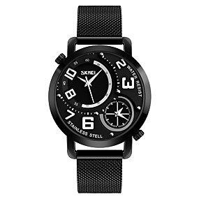 Недорогие Фирменные часы-SKMEI Муж. Повседневные часы Модные часы Кварцевый Нержавеющая сталь Черный 30 m Защита от влаги Повседневные часы Аналоговый На каждый день - Черный Красный Синий