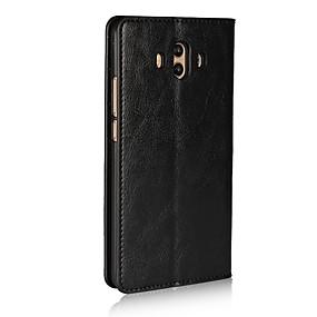 Недорогие Чехлы и кейсы для Huawei Mate-Кейс для Назначение Huawei Mate 10 Бумажник для карт / со стендом / Флип Чехол Однотонный Твердый Настоящая кожа