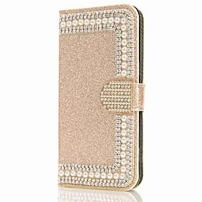 voordelige Galaxy S7 Edge Hoesjes / covers-hoesje Voor Samsung Galaxy S9 / S9 Plus / S8 Plus Portemonnee / Kaarthouder / Strass Volledig hoesje Glitterglans / Bloem Hard PU-nahka