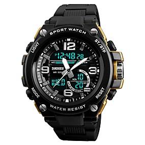 Недорогие Фирменные часы-SKMEI Муж. Спортивные часы Модные часы электронные часы Цифровой Стеганная ПУ кожа Черный 50 m Защита от влаги Календарь Секундомер Аналого-цифровые Роскошь На каждый день - Серебряный Красный Синий