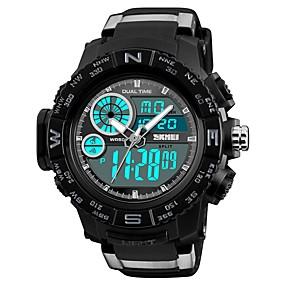 Недорогие Фирменные часы-SKMEI Муж. Повседневные часы Спортивные часы Модные часы Цифровой Стеганная ПУ кожа Черный 50 m Защита от влаги Календарь Секундомер Аналого-цифровые Роскошь На каждый день - Черный Красный Синий