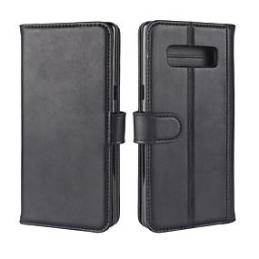 Недорогие Чехлы и кейсы для Galaxy Note 8-Кейс для Назначение SSamsung Galaxy Note 8 Кошелек / Бумажник для карт / со стендом Чехол Однотонный Твердый Настоящая кожа