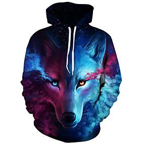 cheap Top Sellers-Men's Plus Size Hoodie Sweatshirt 3D Print Modern Style Hooded Active Hoodies Sweatshirts  Long Sleeve Loose Blue / Fall / Winter