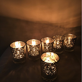 cheap Candles & Candleholders-European Style / Modern / Contemporary Glass Candle Holders 6pcs, Candle / Candle Holder