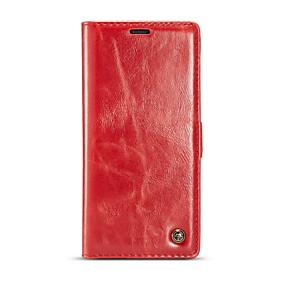 Недорогие Чехлы и кейсы для Galaxy Note 8-Кейс для Назначение SSamsung Galaxy Note 8 Кошелек / Бумажник для карт / Флип Чехол Однотонный Твердый Настоящая кожа