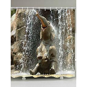 رخيصةأون أدوات الحمام-ستائر الدش والخطاف معاصر زهري البوليستر حيوان مصنوع بالماكينة ضد الماء