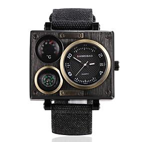 Недорогие Фирменные часы-SHI WEI BAO Муж. Спортивные часы Модные часы Армейские часы Японский Кварцевый Нейлон Черный Термометр Компас Панк Аналоговый Винтаж - Белый Черный Бронзовый Один год Срок службы батареи / SSUO 377