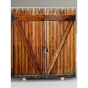 hesapli Banyo Gereçleri-Kanca ile duş perdeleri rustik ahşap kapı ahır kapı polyester kumaş banyo için su geçirmez duş perdesi