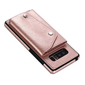Недорогие Чехлы и кейсы для Galaxy Note 8-Кейс для Назначение SSamsung Galaxy Note 8 Кошелек / Бумажник для карт / Флип Кейс на заднюю панель Однотонный Твердый Настоящая кожа