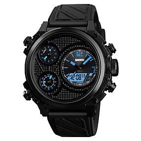 Недорогие Фирменные часы-SKMEI Муж. Спортивные часы электронные часы Японский Цифровой Стеганная ПУ кожа Черный 50 m Защита от влаги Будильник Секундомер Аналого-цифровые На каждый день Мода -  / Один год / Хронометр