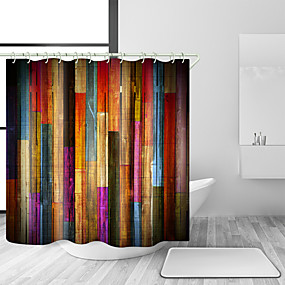 cheap Bathroom Gadgets-Shower Curtains with Hooks Colorful Wooden Wood Art Plank Rustic Retro Wooden Vintage Shower Curtain Waterproof for Bathroom