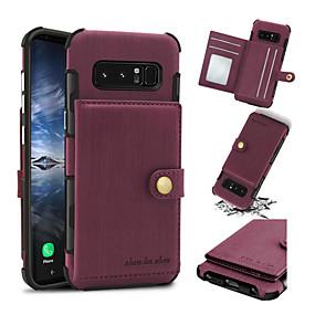 Недорогие Чехлы и кейсы для Galaxy Note 8-Кейс для Назначение SSamsung Galaxy Note 8 Бумажник для карт / Защита от удара Кейс на заднюю панель Однотонный Твердый Кожа PU