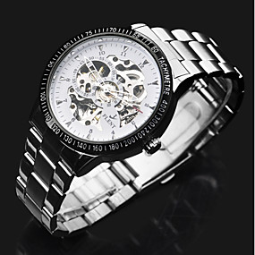 voordelige Klassieke Horloge-ASJ Heren Dress horloge mechanische horloges Automatisch opwindmechanisme Roestvrij staal Zilver Hol Gegraveerd Cool Analoog Luxe Klassiek - Zilver