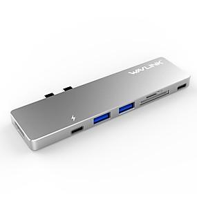 olcso Számítógépes periferiális egységek-RELLECIGA USB 3.0 Type C to HDMI 2.0 / USB 3.0 / USB 3.0 Type C USB Hub 7 Portok Nagy sebesség