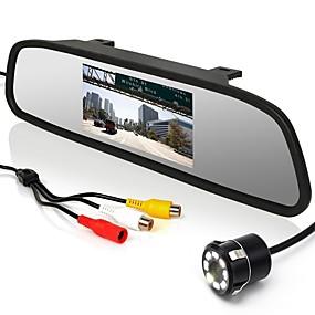 voordelige Auto-elektronica-4,3 inch monitor + auto achteruitrijcamera met 8 led-verlichting en 170 graden groothoek parkeercamera