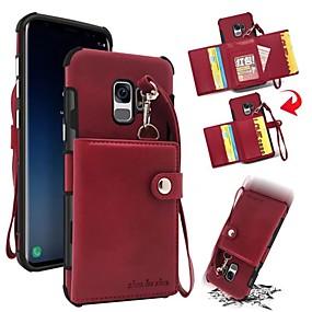 رخيصةأون Galaxy S9 Plus أغطية / كفرات-غطاء من أجل Samsung Galaxy S9 / S9 Plus / S8 Plus محفظة / حامل البطاقات / ضد الصدمات غطاء خلفي لون سادة قاسي جلد أصلي
