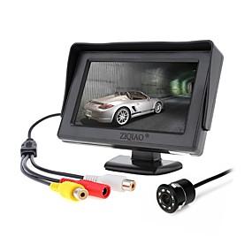 Недорогие Автоэлектроника-Ziqiao 4,3-дюймовый монитор солнцезащитного козырька и 8led ccd hd автомобильная камера заднего вида парковочная система для автомобильных мониторов заднего вида ntsc pal