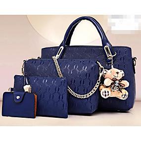 cheap Women's Bags-Women's Bear PU Bag Set Bag Sets 4 Pieces Purse Set Black / Wine / Yellow