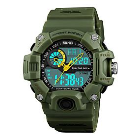 Недорогие Фирменные часы-SKMEI Муж. Спортивные часы электронные часы Японский Цифровой Стеганная ПУ кожа Черный / Зеленый 50 m Защита от влаги Будильник Секундомер Аналого-цифровые На каждый день Мода - Красный Зеленый Синий