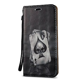voordelige Galaxy S6 Edge Plus Hoesjes / covers-hoesje Voor Samsung Galaxy S9 / S9 Plus / S8 Plus Portemonnee / Kaarthouder / met standaard Volledig hoesje Doodskoppen Hard PU-nahka