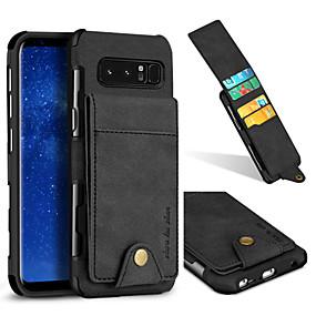 Недорогие Чехлы и кейсы для Galaxy Note 8-Кейс для Назначение SSamsung Galaxy Note 8 Бумажник для карт / Защита от удара Кейс на заднюю панель Однотонный Твердый текстильный
