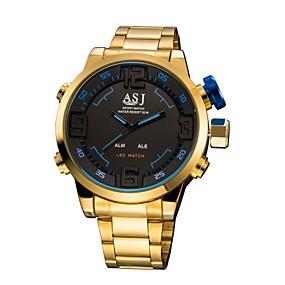 Недорогие Фирменные часы-ASJ Муж. Спортивные часы электронные часы Цифровой Мода Будильник Нержавеющая сталь Золотистый Аналого-цифровые - Красный Синий Один год Срок службы батареи / Японский / Секундомер / Хронометр