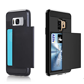voordelige Galaxy S6 Edge Plus Hoesjes / covers-hoesje Voor Samsung Galaxy S9 / S9 Plus / S8 Plus Kaarthouder Achterkant Effen Hard PC