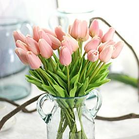 billige Kunstige blomster-Kunstige blomster 10 Afdeling Rustikt Fest Tulipaner Evige blomster Bordblomst
