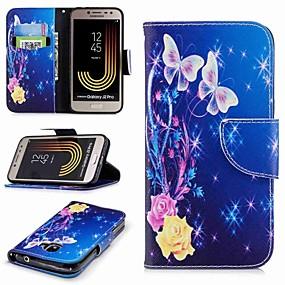 voordelige Galaxy J7(2017) Hoesjes / covers-hoesje Voor Samsung Galaxy J7 (2017) / J5 (2017) / J5 (2016) Portemonnee / Kaarthouder / met standaard Volledig hoesje Vlinder Hard PU-nahka