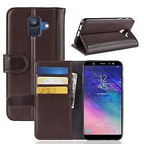 olcso Galaxy A7(2017) tokok-Case Kompatibilitás Samsung Galaxy A6 (2018) / A6+ (2018) / A3 (2017) Pénztárca / Kártyatartó / Állvánnyal Héjtok Egyszínű Kemény Valódi bőr