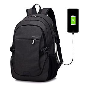 """olcso Laptop kütyük-LITBest 15"""" Laptop Hátizsákok Terylene Egyszínű üzleti irodához a Colleages & Schools számára utazáshoz USB töltőport / fejhallgató lyukkal"""