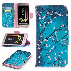 voordelige Galaxy J5 Hoesjes / covers-hoesje Voor Samsung Galaxy J7 (2017) / J7 (2016) / J7 Portemonnee / Kaarthouder / met standaard Volledig hoesje Bloem Hard PU-nahka
