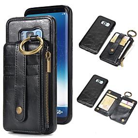 voordelige Galaxy S7 Hoesjes / covers-hoesje Voor Samsung Galaxy S9 / S9 Plus / S8 Plus Portemonnee / Kaarthouder / met standaard Volledig hoesje Effen Hard aitoa nahkaa