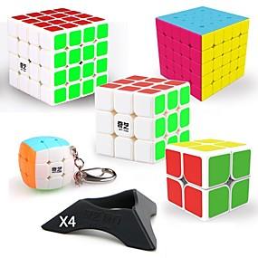 رخيصةأون ألعاب تعليمية-9قطع المكعب السحري الذكاء مكعب QIYI QIYI-A بيرامورفيكس أجنبي مصغرة 2*2*2 3*3*3 4*4*4 5*5*5 السلس مكعب سرعة مكعبات سحرية مخفف الضغط لغز مكعب ملصقات مصقولة المستوى المهني للألعاب / Non Toxic / متخصص