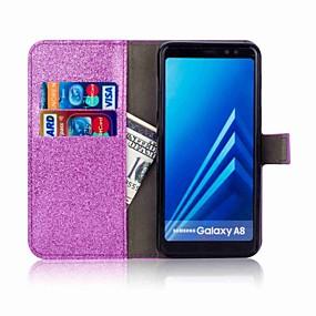 Недорогие Чехлы и кейсы для Galaxy A5(2016)-Кейс для Назначение SSamsung Galaxy A5(2018) / A3 (2017) / A5 (2017) Кошелек / Бумажник для карт / Стразы Чехол Сияние и блеск Твердый Кожа PU