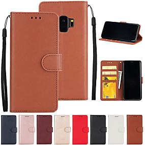 voordelige Galaxy S7 Hoesjes / covers-hoesje Voor Samsung Galaxy S9 / S9 Plus / S7 edge Kaarthouder Volledig hoesje Effen PU-nahka