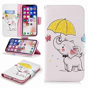 voordelige iPhone 11 Pro Max hoesjes-hoesje Voor Apple iPhone 8 Plus / iPhone 7 Plus / iPhone 7 Portemonnee / Kaarthouder / met standaard Volledig hoesje Olifant Hard PU-nahka