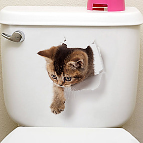 voordelige Huis & Tuin-Koelkaststickers Toiletstickers - Dierlijke muurstickers Dieren 3D Woonkamer Slaapkamer Badkamer Keuken Eetkamer Studeerkamer / Kantoor